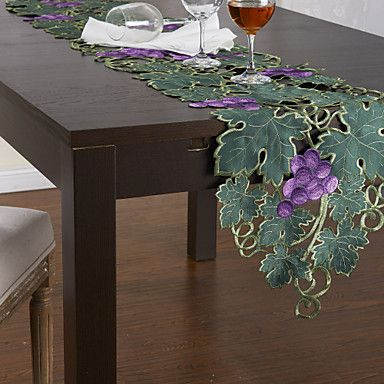 """13"""" x 69"""" Grape Theme Embroidery Polyester Table Runner – USD $ 7.99"""