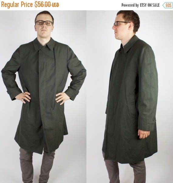 Dark Green London Fog Trenchcoat Mens Long Raincoat Overcoat Vintage Trenchcoat  Measurements:  Measurements taken while garment lay flat, to get girth you have to double measurements.  Size: 42 Long armpit to armpit: 26 / 66cm neck to bottom: 43.3 / 110cm shoulder to shoulder: 19.3 / 49cm shoulder to cuff: 26.4 / 67cm  Condition: good vintage condition   If you have any questions feel free to ask.   SHIPPING * I ship worldwide via Priority mail (Latvijas Pasts) from Latvi...