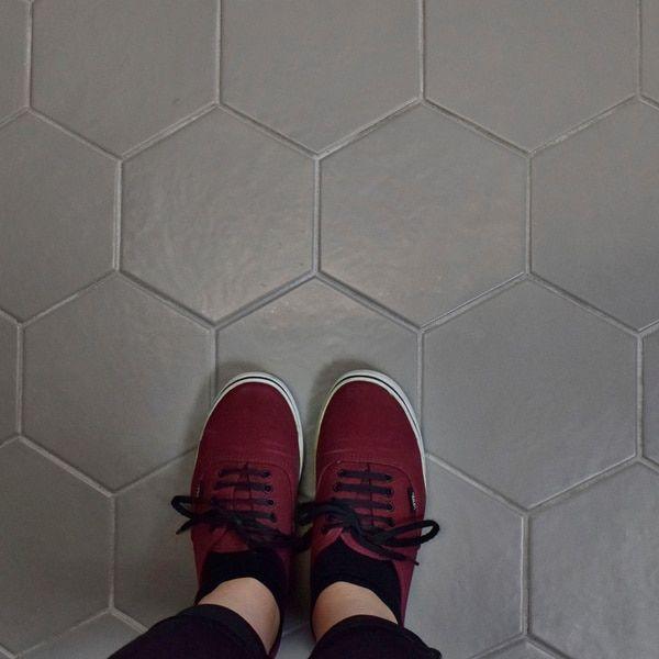 Somertile 7x8 Inch Hextile Matte Grey Porcelain Floor And