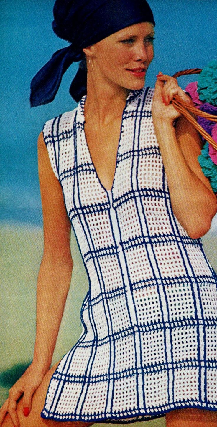 Openwork Window-pane  Swimsuit and Beach Cover-Up PDF Crochet Pattern by MomentsInTwine on Etsy