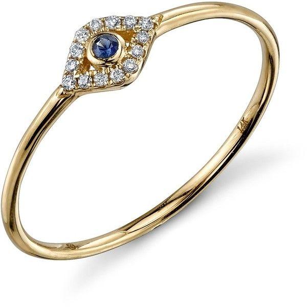 Sydney Evan Small Bezel Evil Eye Ring ($285) ❤ liked on Polyvore featuring jewelry, rings, bezel diamond ring, sydney evan jewelry, bezel ring, diamond evil eye jewelry and evil eye rings