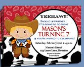 Cowboy Invitation Printable or Printed with FREE SHIPPING - You Pick Hair Color/ Skin Tone - Cow Print Red Bandana Collection