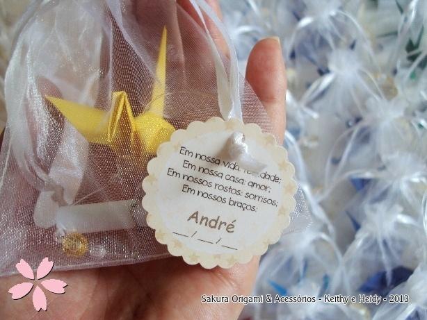 Mensagem - lembrancinhas de nascimento - http://blog.sakuraorigami.com.br/2013/05/lembrancinhas-de-nascimento-do-andre.html #origami #tsuru