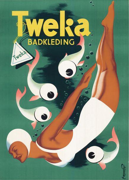 Vintage Bathing Suit Ad Poster by Frans Mettes (1909-1984), Tweka Badkleding. (Netherlands)