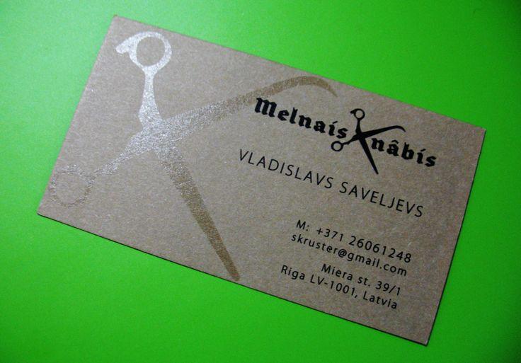 Serigraph scissors on business card for hair stylist / Vizītkarte ar sietspiedi frizieram / Шелкография и ножницы на открытке для парикмахера