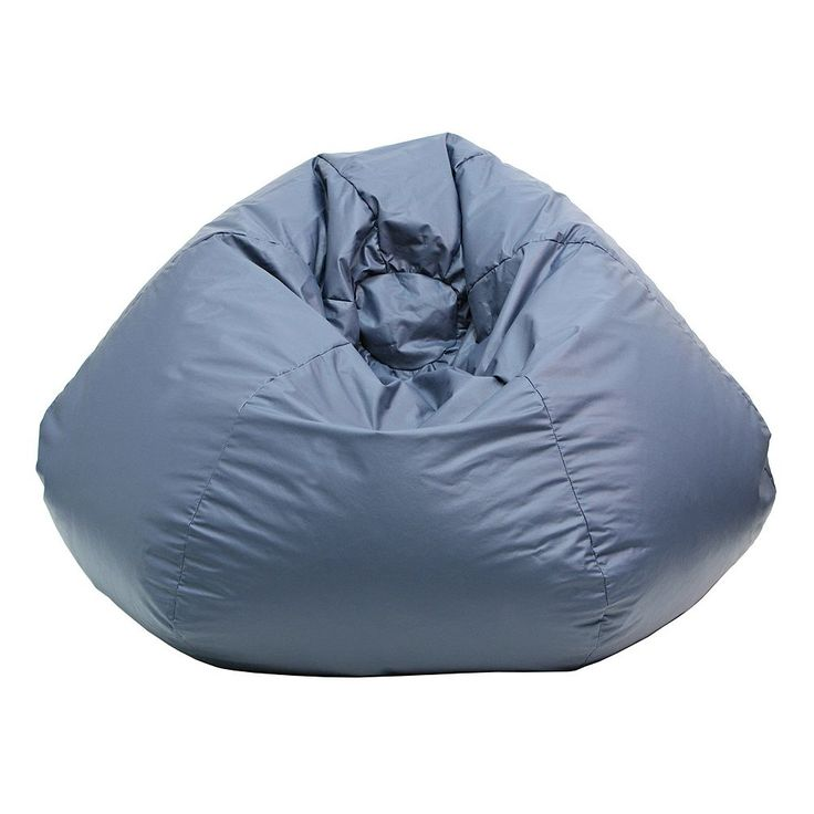 Medium Faux-Leather Bean Bag Chair, Blue (Navy)