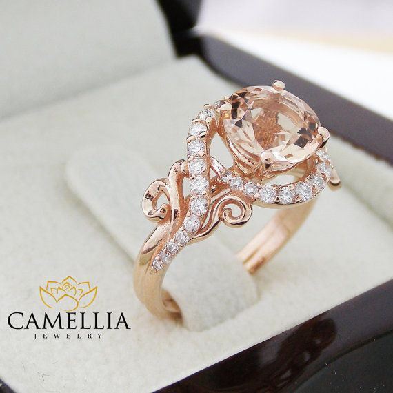 Stunning feminine and breathtaking! This unique engagement ring is crafted in solid 14k rose gold with a 7mm round shaped natural peach pink morganite set into a gorgeous floral basket setting on top of a diamond pebble band. The timeless and classic design of this leaf ring will make your engagement unforgettable.  You can see more variations of this ring here: 1. https://www.etsy.com/listing/278813978/london-blue-topaz-engagement-ring-set 2…