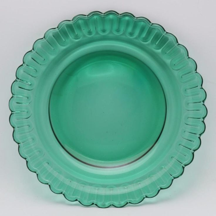 Indiana Glass Christmas Candy Terrace Green Plate 8 1/4 Inch  | eBay