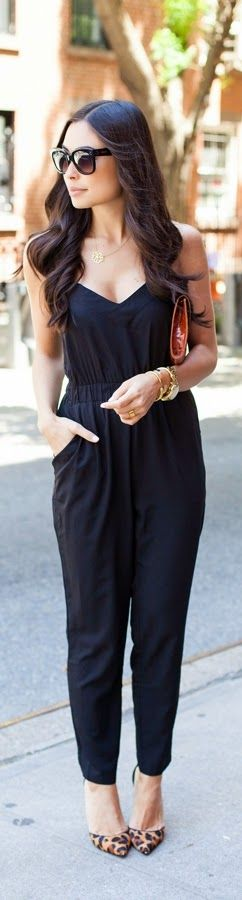 Black Classic Jumpsuit with Lepord Shoes   Spring ...