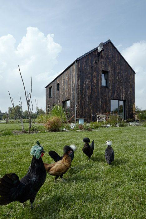 Mjölk Architekti's Carbon house features a burnt wood exterior.