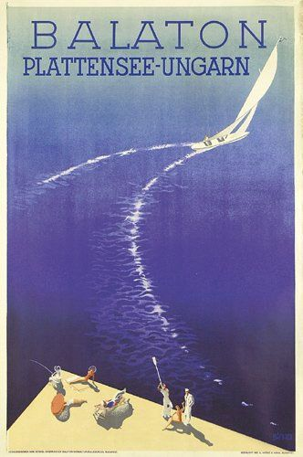 Old 1950s Poster promoting Lake Balaton, Hungary