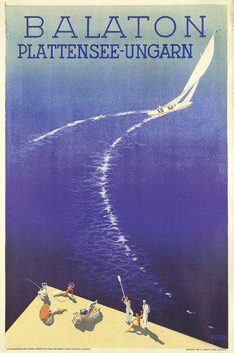 Old 1950s Poster promoting Lake Balaton, Hungary