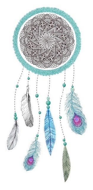 dream catcher with watercolor and feathers