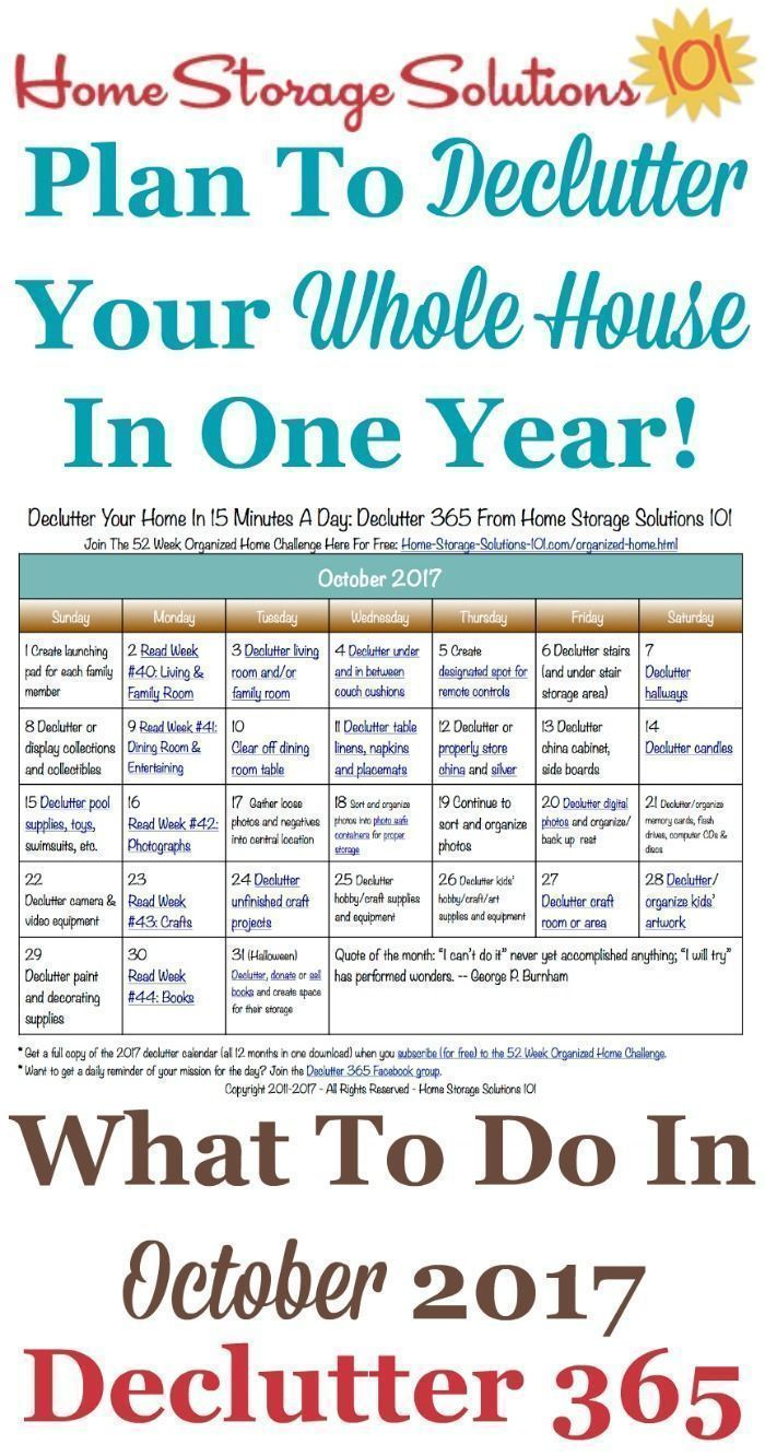 Free printable October 2017 decluttering calendar with daily 15 minute missions. Follow the entire Declutter 365 plan provided by Home Storage Solutions 101 to declutter your whole house in a year. #declutteringahouse