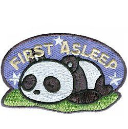 First Asleep Fun Patch. Get those girls quieted down and asleep at a reasonable hour during your camping trip, lock-in or sleep-over. Award the first sleeping Girl Scout with our First Asleep fun patch. Available at MakingFriends.com