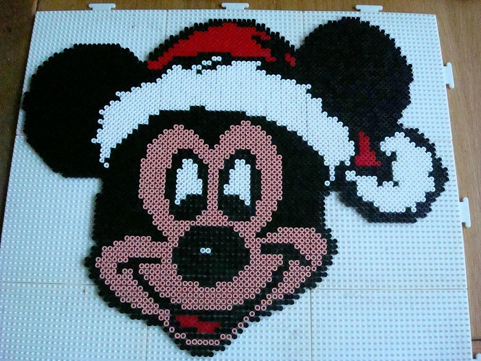 Christmas Mickey Mouse hama perler beads by Irma