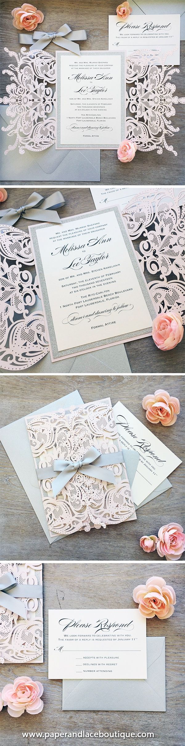 MELISSA GLITTER Blush Laser Cut Wedding