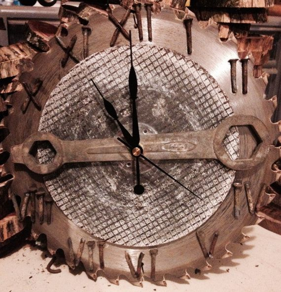 Saw blade clock on Etsy, $40.00