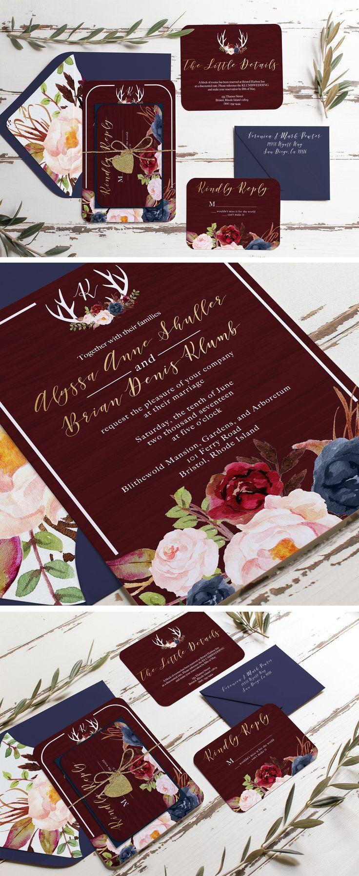 Marsala burgundy gold and navy rustic wedding invitation. Unica Forma makes custom invitations like this wood grain fall invitation. Blush merlot blue wedding invitation envelope liners and floral print!