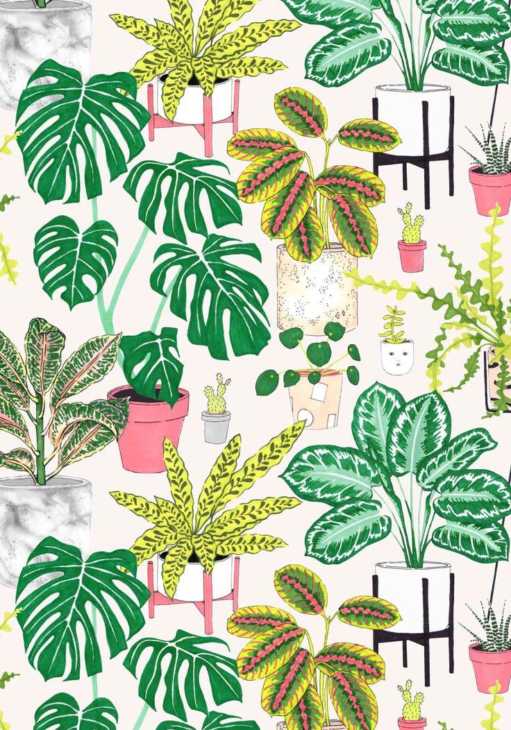 Houseplant Jacqueline Pattern Foliage Colley Repeat Design Print Leafy Byhouseplant Print By Jacqueli Plant Art Plant Illustration Botanical Drawings