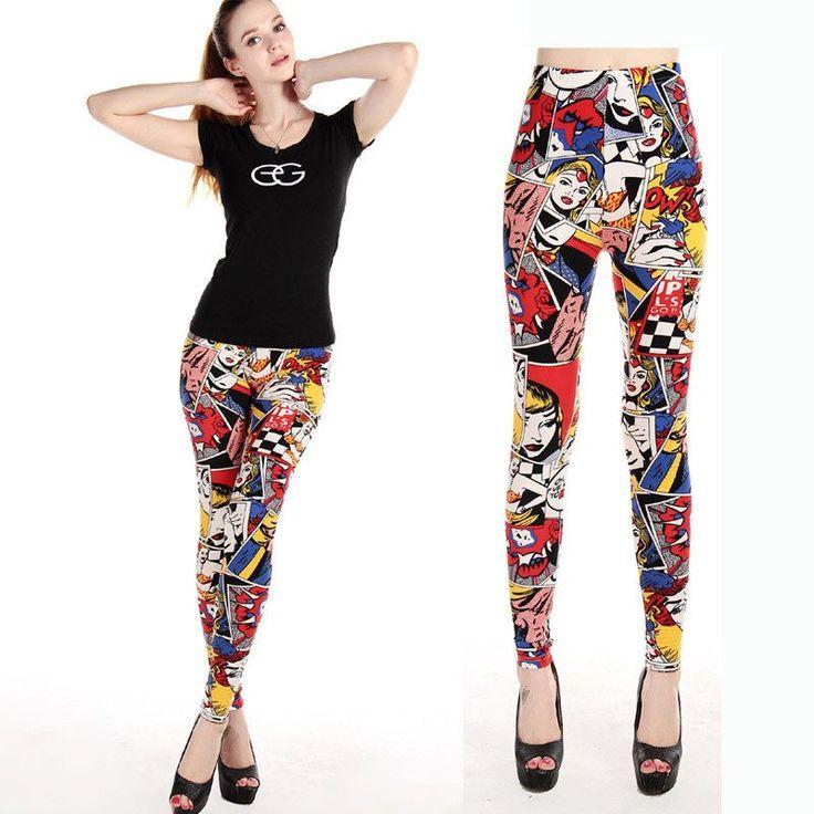 Women Comic Leggings Cartoon Printed Leggins Plus Size Stretch Girls Legging Punk Rock Leggin Disco Pants Evening Clubwear