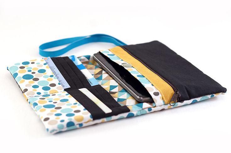 Compagnon, portefeuille rétro simili cuir noir avec tissu scandinave bulles colorés : Porte-monnaie, portefeuilles par mambo-kiwi