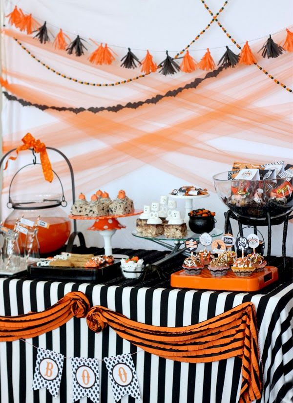 Pottery Barn Vintage Retro Halloween Party- lots of recipes and Halloween ideas  <---- love the drink cauldron!