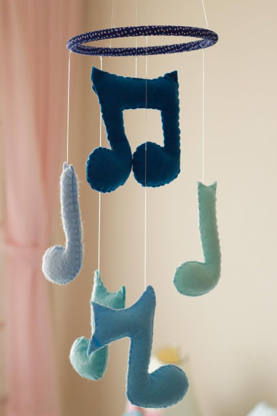 Baby Boy Mobile  Music Notes Mobile  Blue Baby by DreamFlakeShop