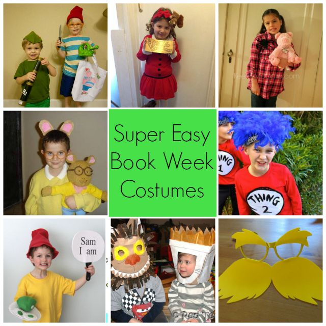 Last minute easy costume makes for World Book Day including Veruca Salt, Peter Pan and Mr Smee, Max and the Wild Thing, Angelina Ballerina.