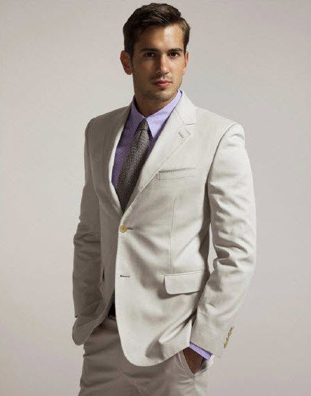 Wedding Guest Attire Khaki Suit With Purple Tie And Shirt