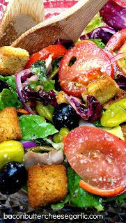 Italian Salad...copycat Olive Garden salad. This dressing is the best copycat version I've ever tried! No mayo or corn syrup!