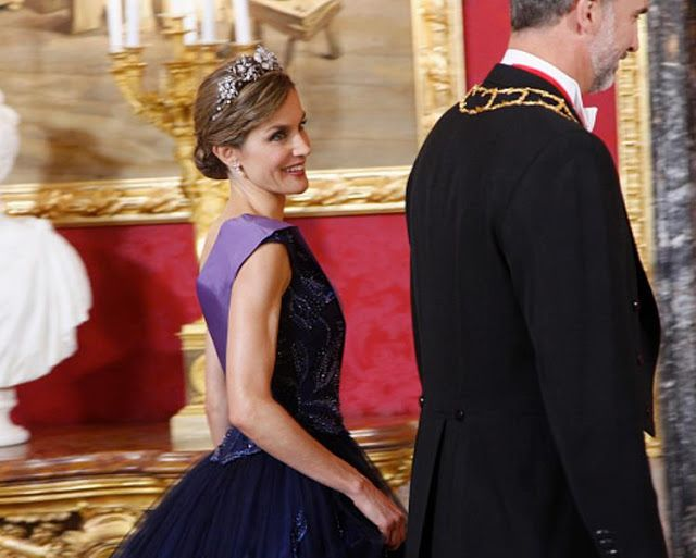 Royal Family Around the World: Spanish Royals Host a Dinner for President of Peru at the Royal Palace on July 7, 2015 in Madrid, Spain.