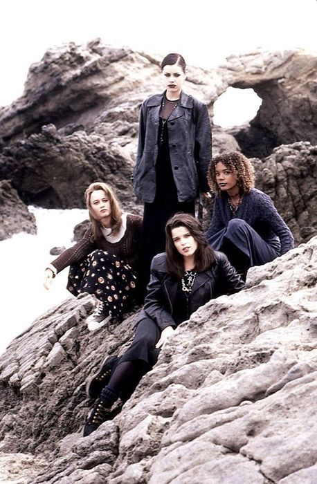The Craft (1996) - Robin Tunney as Sarah Bailey, Fairuza Balk as Nancy Downs, Rachel True as Rochelle, and Neve Campbell as Bonnie, directed by Andrew Fleming, summoning on the beach