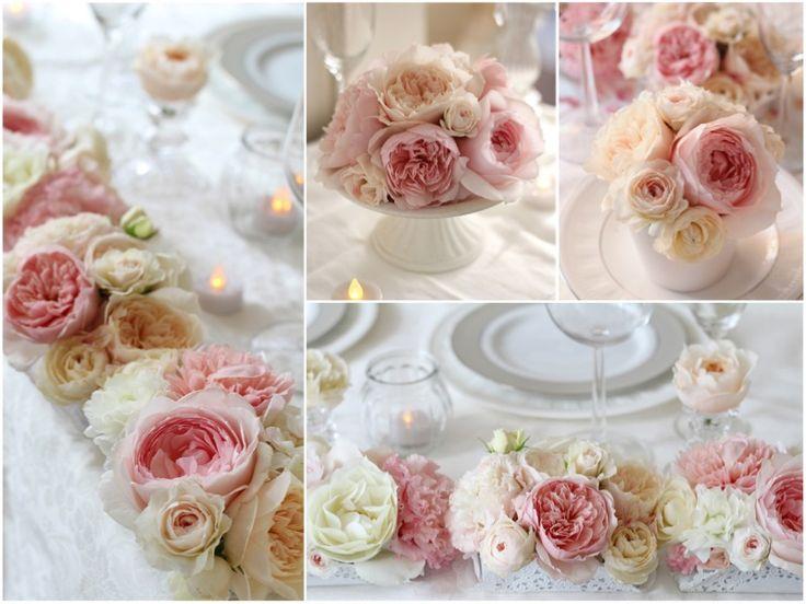 ストロベリーアイスのような淡いピンクとバニラアイスのようなアイボリーのイングリッシュローズを使ったロマンチックな会場装花。