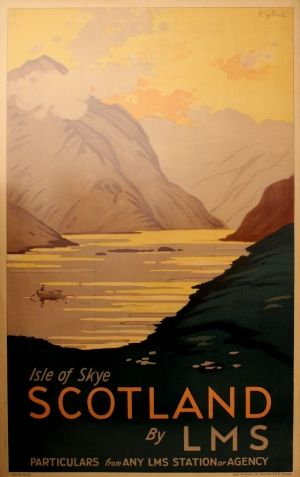 Isle of Skye Scotland by LMS, 1930s - original vintage poster by R G Praill listed on AntikBar.co.uk