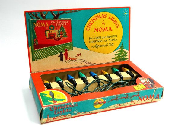 Vintage Noma Christmas lights and box 8 light set working blue green yellow lights retro mid century c 1940 - 1950