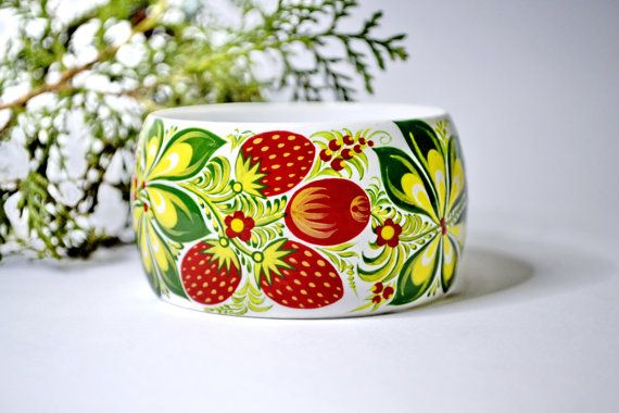 Bracelet.Wood.Hand painted.Bangle Russian folk by IGORartPAINTING