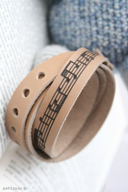 free shipping -  beige milky genuine leather bracelet wrap around wrist with engraved sheet music - Free Shipping