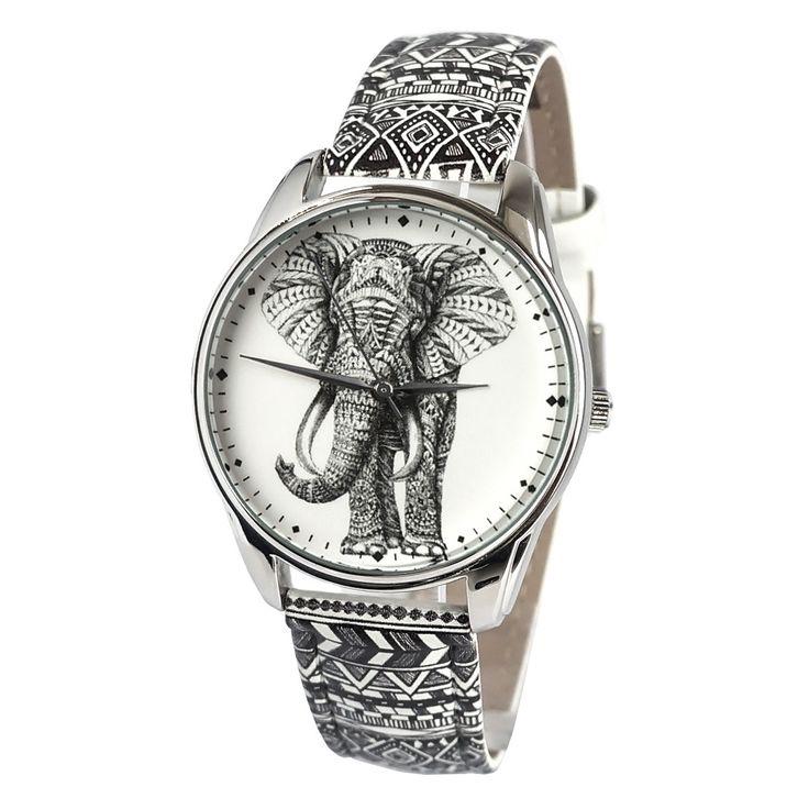 Thai Elephant Watch Wrist Watch for Him & Her | Handmade Men & Women Watches | Vintage Pattern Design Style | Accesories Silver Golden Fashion | Leather Vintage | Stainless Steel | Uhr Uhren Reloj Montre