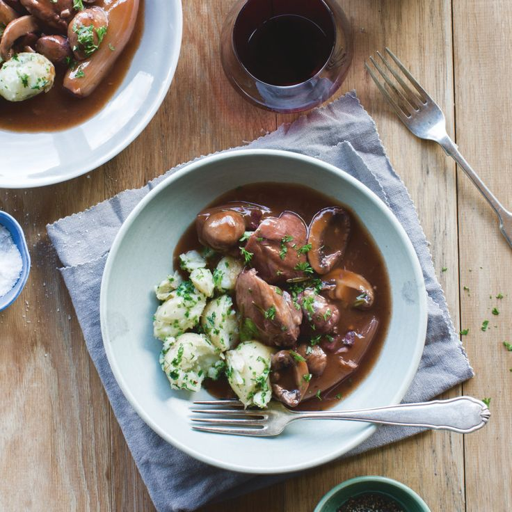 Coq au vin with herb crushed potatoes, brussels sprouts and bacon By Nadia Lim