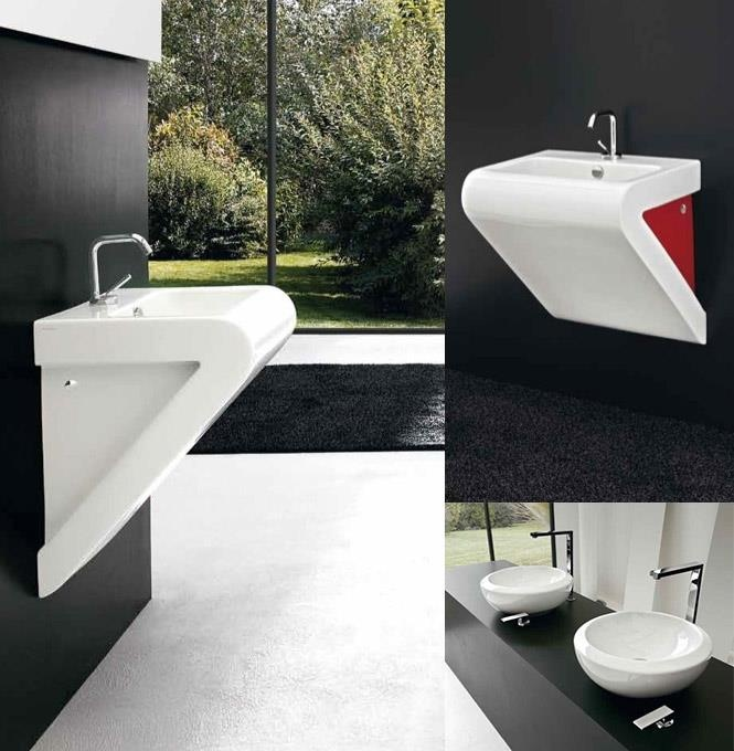 Bathroom, Various Unique Washbasin Design For Bathroom: White Triangle Basin  For Black And White Interior With Nature View