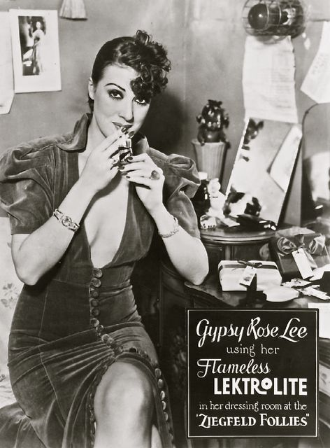 Gypsy Rose Lee (January 8, 1911 – April 26, 1970)  in an advertisement for Lektrolite