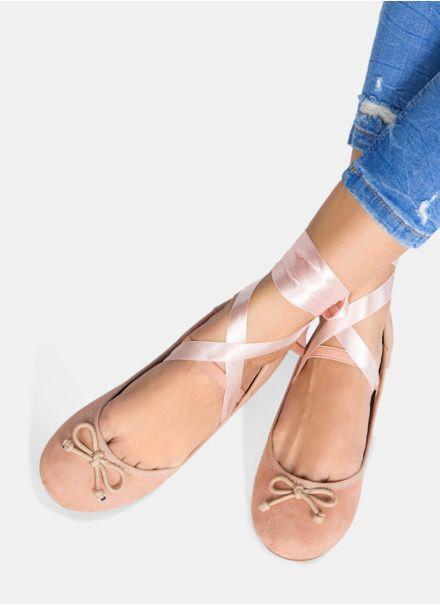 Różowe wiązane balerinki faux suede Mia
