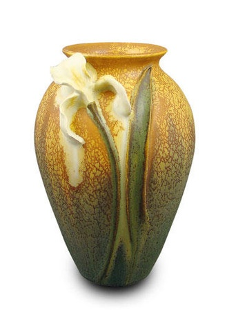 "Springtime Iris  $117.30  Size: 6.5""H x4""W  Color: Autumn Wheat    Ephraim Faience Pottery creates fine pottery in the Arts & Crafts style. The original designs and glazes, which are inspired by nature, reflect both the Craftsman aesthetic of a century ago and the studio's rural Wisconsin surroundings. Each piece is a collabrorative work created by the Ephraim Faience artisits. The vases are individually thrown, sculpted, and decorated by hand. Like snowflakes, no two are exactly alike."