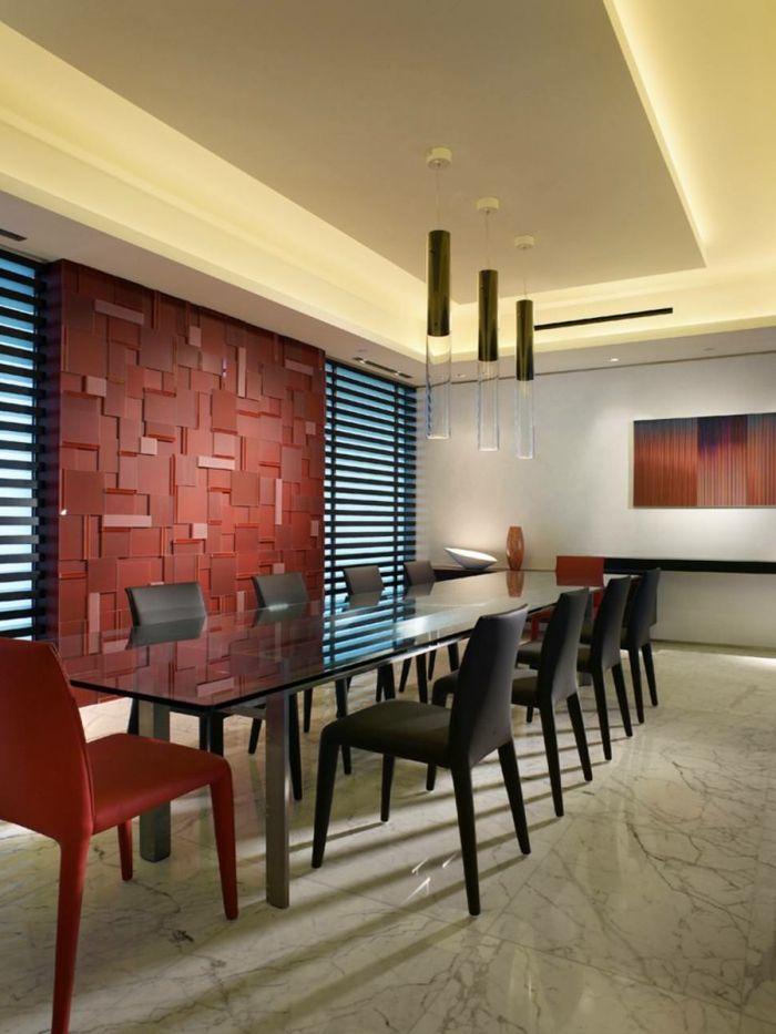 modernes wohnen ausgefallene wandgestaltung im esszimmer und glastisch - Wandgestaltung Modernes Wohnen