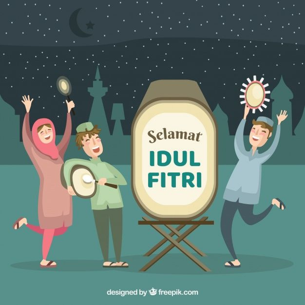 Download Idul Fitri Background With People Celebrating For