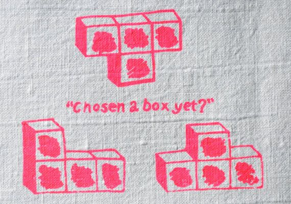 Chosen a Box Yet Screen Printed by Hand Linen Tea by SeeYouAtHome