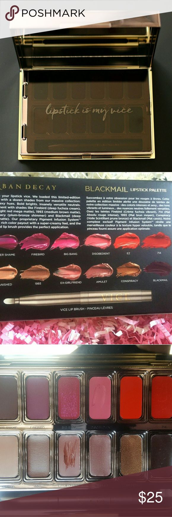 Urban Decay Vice lipstick palette Disobedient  and Ex-girlfriend were used once with a sterile lip brush  (not the one included with the palette) on a model. Urban Decay Makeup Lipstick