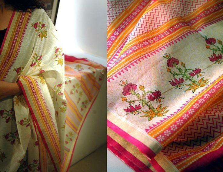 Block printed chanderi sarees