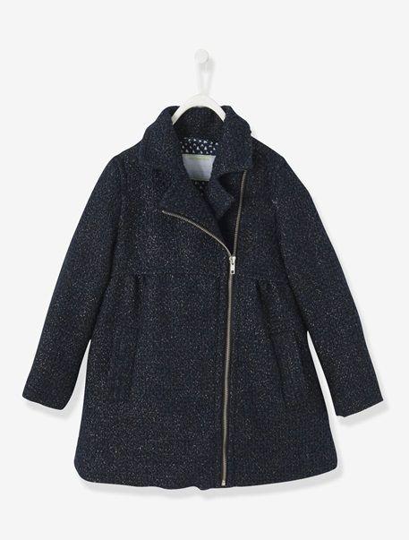 Manteau fille en drap de laine Anthracite jacquard fantaisie+Noir irise - vertbaudet enfant